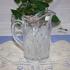 RARE Antique EAPG Large Clear Glass Pitcher with Ribbed Handle made in New Hampshire USA water - lemonade - milk by KattsCurioCabinet on Etsy