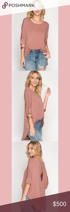 """JUST IN! Half Sleeve Hi-Low Top Cutout Back * PRICE IS FIRM * PRICE IS FIRM * PRICE IS FIRM *  BUNDLE 3 OR MORE ITEMS TO RECEIVE 10% OFF ENTIRE PURCHASE!  Half Sleeve Hi-Low Top Cutout Back  Material: 65% Cotton, 35% Rayon Knit   Style: Shirt/Blouse  Color: Dusty Rose  True to size  Model is 5'8"""" Tops"""