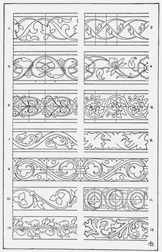 could be used as stencil guide Graphisches Design, Border Design, Pattern Design, Border Pattern, Pattern Ideas, Design Elements, Leather Carving, Leather Tooling, Motifs Art Nouveau