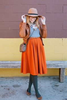 outfit idea: styling @ModCloth's Breathtaking Tiger Lilies Skirt for fall and winter #ModCloth
