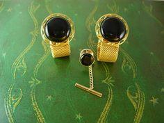 Black Wrap Mesh Gold Filled Cufflinks Tie Tac by NeatstuffAntiques, $75.00