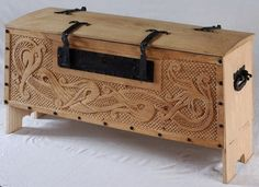 Replica Mästermyr chest with amazing period artistic flare added. The Mästermyr chest is a Viking Age (793–1066) tool chest found in the Mästermyr mire west of Hemse on the island of Gotland, Sweden. It is the largest tool find from that era in Europe.