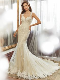 Style Y11554, Robin, is a beautiful sheath wedding dress with chapel train designed by Sophia Tolli, click here for more details.