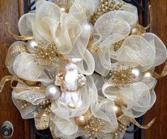 white gold wreath white christmas ornaments front door