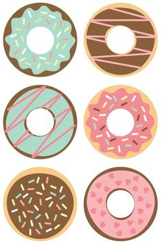 Donut Cut Files + Clip Art - Freebie Friday Celebrate National Donut Day (or any day!) with these free donut SVG / DXF cut files and PNG clip art! Nine yummy designs for all of your projects. Donut Birthday Parties, Donut Party, Birthday Party Themes, Birthday Games, 5th Birthday, Scrapbook Kit, Vogel Clipart, Planner Stickers, Party Banner