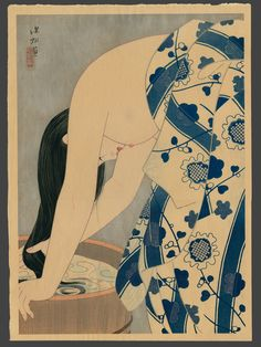 Shinsui Ito   (1898-1972)      Washing the Hair (No. 36)  1952  Publisher The Commission for the Protection of Cultural Property  20.5 x 14.75