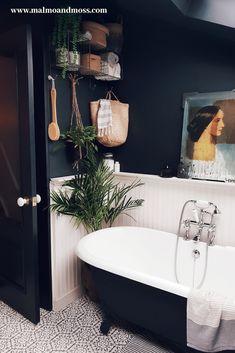 Roll top bath in a modern rustic bathroom in East London with timber cladding an. - Roll top bath in a modern rustic bathroom in East London with timber cladding and dark walls to giv - Rustic Bathroom Designs, Rustic Bathrooms, Modern Bathroom Design, Bathroom Interior Design, Modern Bathrooms, Master Bathrooms, Modern Vintage Bathroom, Dark Bathrooms, Small Dark Bathroom