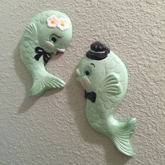 Items similar to Custom Mr. Fish ~ Retro Chalkware Wall Plaques on Etsy Biscuit, Clay Classes, Vintage Dishware, Ceramic Animals, Clay Animals, Dengeki Daisy, Vintage Mermaid, Polymer Clay Projects, Mid Century Decor