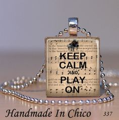 Scrabble Tile Jewelry - Keep Calm and Play On Piano Music Pendant 337 -SALE Buy 2 Get 1 FREE. $7.95, via Etsy.