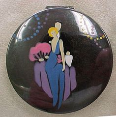 Vintage Deco Hand Painted Compact Man & Women | eBay