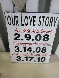 Custom Vinyl Our Love Story with YOUR Dates, Wedding, Engagement
