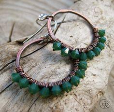 Emerald Green Earrings Beaded Copper Hoop May Birthday. $25.00, via Etsy.