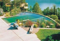In Europe, natural swimming pools are an increasingly popular alternative to chemically maintained pools. Plants act as a natural filter and harbor beneficial bacteria to keep the pool clean. No chlorine or salt needed.