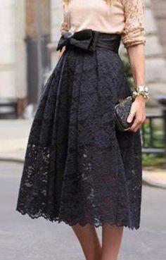 Lace Jacquard Bowknot Embellished Skirt ==