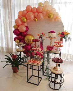 Girl baby shower decor - Home Page Balloon Garland, Balloon Decorations, Birthday Party Decorations, Wedding Decorations, Birthday Parties, Decoration Buffet, Deco Ballon, Fiesta Party, Event Decor