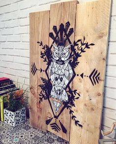 Support bois et dessin à la main dessus Creation Deco, Art Graphique, Sculpting, Palette, Artsy, Graphic Design, Homemade, Tattoos, Drawings