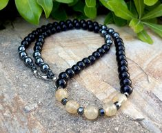 Handmade Men's Necklace in Black Onyx Stone with by Braceletshomme