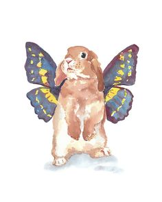 5x7 Rabbit Watercolor PRINT - Bunny Rabbit, Butterfly Wings, Nursery Art, Rabbit Illustration