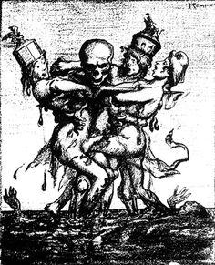 ANTI-WAR CARTOON: Come on in, America, the Blood's Fine! by M.A. Kempf. Anti-war cartoon first published in The Masses in June 1917, p.4, depicting three women (England, France and Germany) being embraced by War in a sea of blood and corpses. •