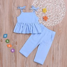 Toddler Girl Ruffle Cami and Pants Set Baby Girl Dress Design, Girls Frock Design, Baby Girl Dress Patterns, Baby Clothes Patterns, Sewing Patterns, Baby Frocks Designs, Kids Frocks Design, Kids Dress Wear, Little Girl Dresses
