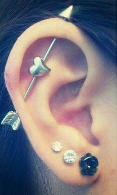 Ear Piercings (Including an Industrial Piercing) #brunette,  industrial piercing -  #body mod