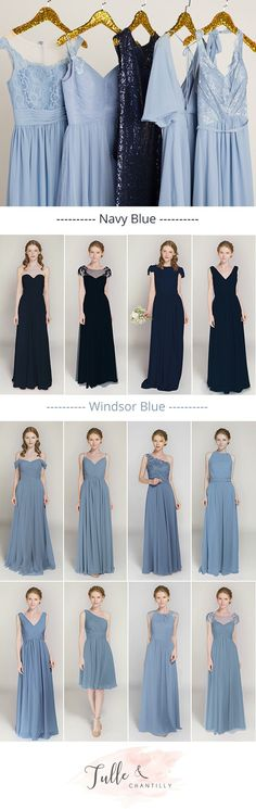 navy blue and windsor blue hues mismatched bridesmaid dresses