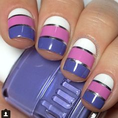 Silver striping tape mani with dusty violet mauve and white.