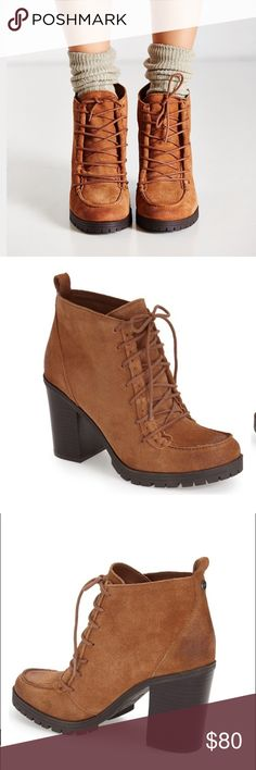 """Sam Edelman Tan Suede Booties NWT & original box. A stylish rugged bootie constructed from soft Suede grounded by a chunky, stacked heel. 3"""" heel, 3.5"""" boot shaft, Lace-up style. Suede upper. No modeling/trades. Circus by Sam Edelman Shoes Ankle Boots & Booties"""