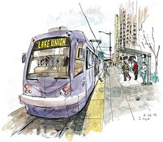 An illustration of the Seattle Streetcar line to Lake Union.