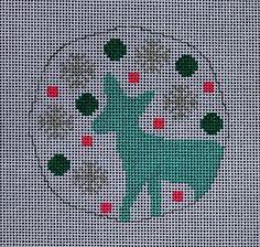 Little Bird Designs RO-002 Teal and Pink Deer #modernneedlepoint