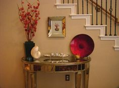 How to decorate console table by staircase....at an angle