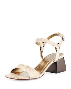 Lizard-Print+Leather+Sandal,+Gold+by+Lanvin+at+Neiman+Marcus.