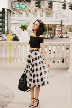 off the shoulder croptop, picnic-checkered long A-line skirt, strappy heels, and a bnw theme