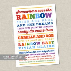 Rainbow Baby Shower Invitation - somewhere over the rainbow - poem or subway art shower - second baby (Printable Digital File)