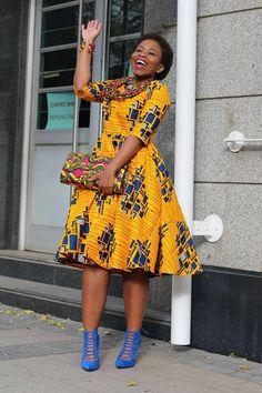 Yellow African print dress, Ankara, African clothing, african dress, african material,African Print, african clothing women (affiliate)
