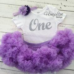 One - silver glitter number shirt, lavender purple pettiskirt tutu skirt, flower rhinestone headband First Birthday 1st Cake Smash baby girl by HoneyLoveBoutique