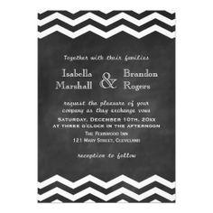 Chevron Chalkboard Wedding Invitation