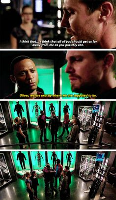 """""""I think that all of you should get as far away from me as you possibly can"""" - Oliver, John, Felicity, Thea, Curtis, Rory and Rene #Arrow"""