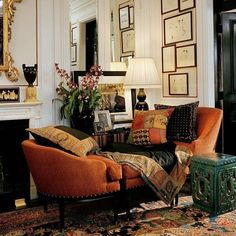 Burnt orange velvet love seat - Ralph Lauren Home Design Style At Home, Design Lounge, Design Salon, Beautiful Interiors, Home Collections, Home And Living, Ralph Lauren Home Living Room, Interior Inspiration, Home Fashion