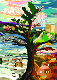The tree of seasons - Original Tapestry by Bracha Lavee