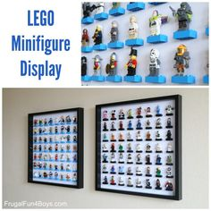 """DIY LEGO Storage & Display Now here is a clever idea if ever I saw one. turn this clever IKEA Hack into briliant DIY LEGO storage and display! What a genius idea indeed. Not only do these LEGO """"frames"""" look… Lego Minifigure Display, Lego Display, Legos, Lego Room Decor, Lego Letters, Ikea Toy Storage, Boot Storage, Ikea Toys, Lego Mosaic"""