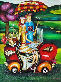 French Art Network | Garant, Jennifer - MARTINI GOLF - 40 x 30 inches - acrylic on canvas painting.