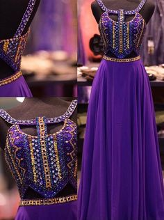 Fashion A-line Scoop Purple Prom Dress With Beading