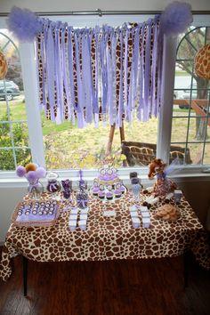 Giraffe and Purple Safari Baby Shower or Birthday by prettimini