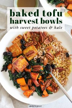 These Crispy Baked Tofu Bowls are a delicious vegan dinner idea for fall. Crispy tofu served over farro with sautéed sweet potatoes and hearty kale. Then, the whole thing is drizzled with a delicious Maple Turmeric Sauce to finish. Vegan Dinner Recipes, Tofu Recipes, Vegan Dinners, Whole Food Recipes, Vegetarian Recipes, Healthy Recipes, Tofu Meals, Easy Dinners, Recipies