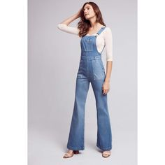 AG Jeans AG The Lolita Overalls ($298) ❤ liked on Polyvore featuring jumpsuits, denim medium blue, blue bib overalls, ag adriano goldschmied, overalls jumpsuit, denim jumpsuit and blue jumpsuit