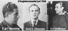 *Karl-Heinz Hoffmann, Gestapochefen, som fører forsædet. *Karl Hemme, SS-Untersturmführer og Hoffmanns sekretær samt netop. *Bent Stegager Simonsen, dansk Gestapomand, tidligere frivillig i Waffen-SS, frontskadet (forfrysninger i nosserne) og derfor overført til tjeneste ved det danske Gestapo-hovedkvarter i Shellhuset i København. Han er nærmest med som livvagt. Han og Hemme er i tysk uniform, Hoffmann i civilt tøj. Simonsens deltagelse er et bevis for Hoffmanns snuhed: Som dansker…