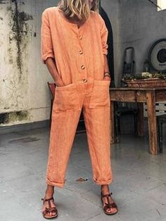 1a2a359e94 Buttoned Solid Casual Long Sleeve Jumpsuits