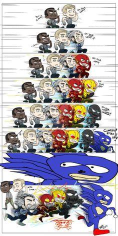 Funny memes Sonic always wins. Marvel Jokes, Funny Marvel Memes, Dc Memes, Crazy Funny Memes, Really Funny Memes, Stupid Funny Memes, Marvel Heroes, Funny Relatable Memes, Funny Comics