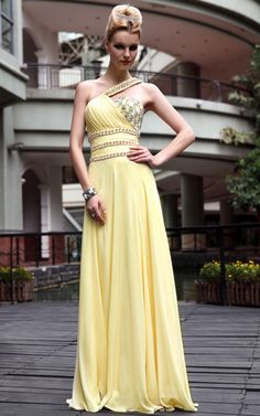 New Yellow Cocktail Prom Satin One Shoulder Beading Formal Long Evening Dress